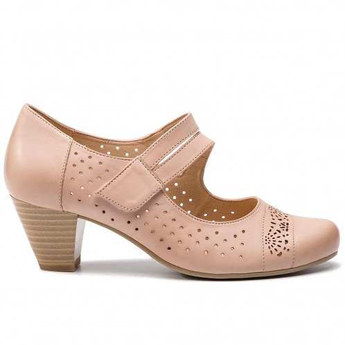 Caprice Ladies Rose Leather Shoe with Low Heel