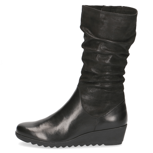 Caprice black leather wedge boot