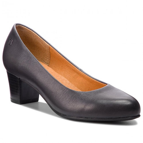Caprice Navy Leather Court Shoe