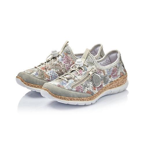 Rieker Ladies Grey Combination Floral Shoes