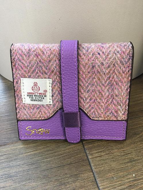 Harris Tweed violet and pink herringbone leather purse