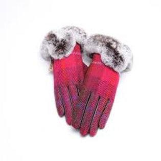 Harris Tweed Fushia Leather Gloves