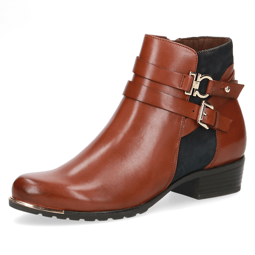 Caprice cognac and ocean ankle boot