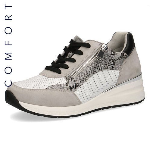 Caprice Ladies Grey Combination Snake Sneaker