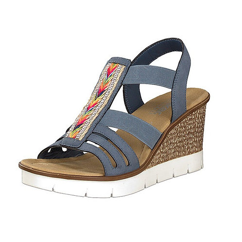 Rieker blue jeans wedge sandal with colour and sparkle detail