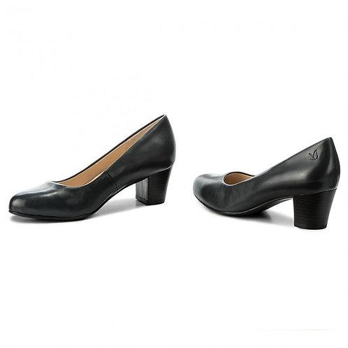 Caprice black leather court shoe