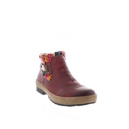 Rieker ladies red multi colour ankle boot