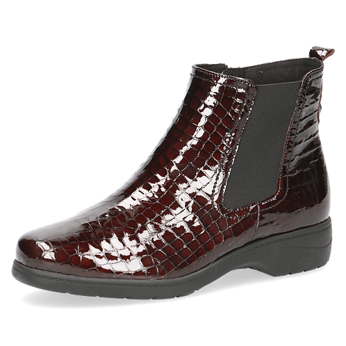 Caprice patent leather croc ankle