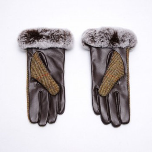 Harris Tweed Chestnut and Leather Gloves
