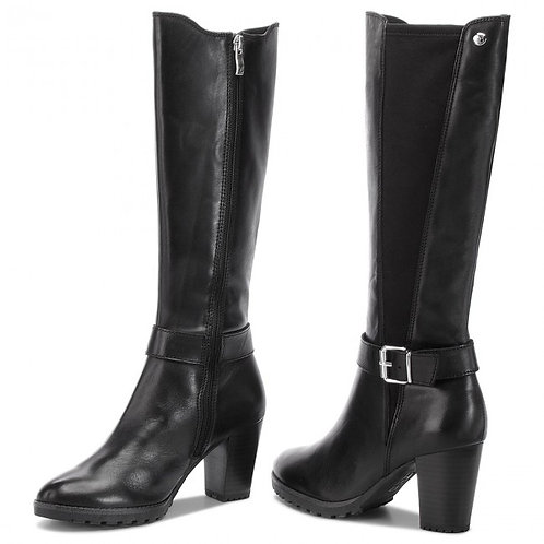 Caprice knee high leather heeled boot