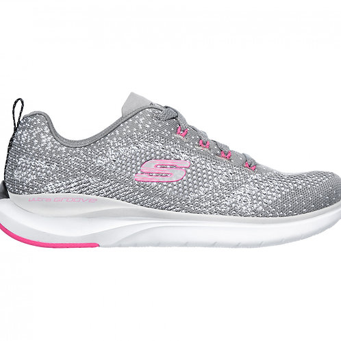 Skechers Ultra Groove Grey Lace Up Trainer