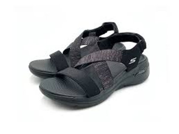 Skechers Archfit Ladies Black Elastic & Velcro Sandal