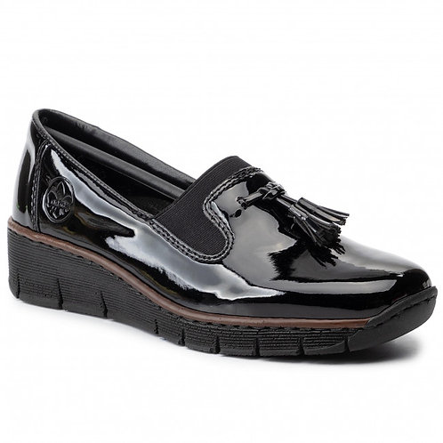 Rieker black patent wedge