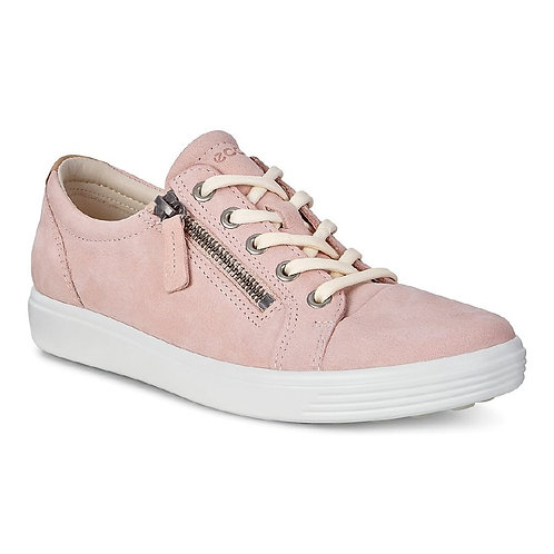 Ecco ladies rose dust leather trainer with zip