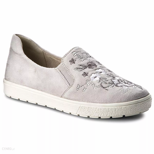 Caprice light grey embroided slip on