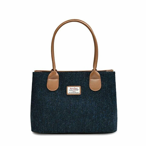 Harris Tweed Navy herringbone tote bag