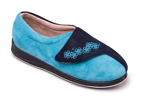 Padders Hug Wide Fit Slippers Blue