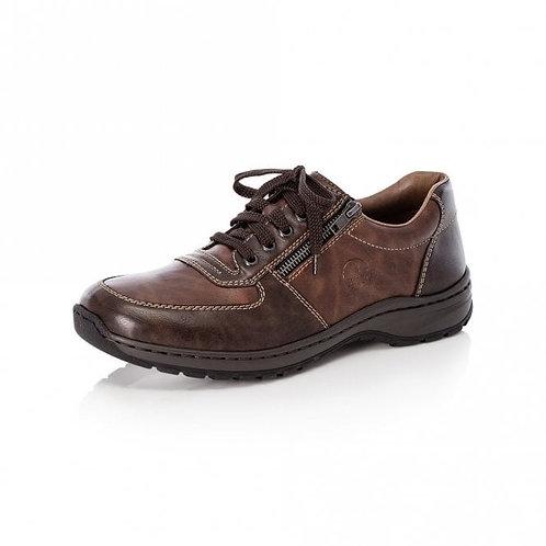 Rieker Mens Leather Zip/Lace Shoe