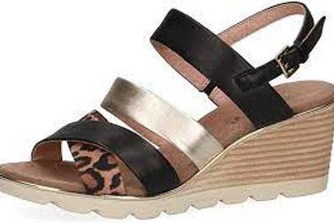 Caprice ladies leopard combo wedge sandal