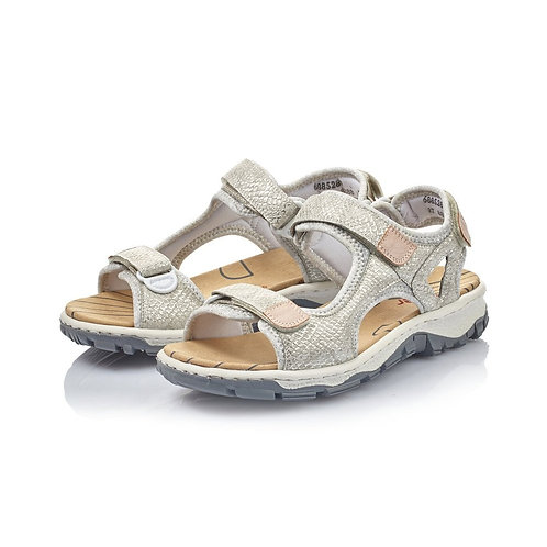 Rieker white glitter adjustable walking sandal