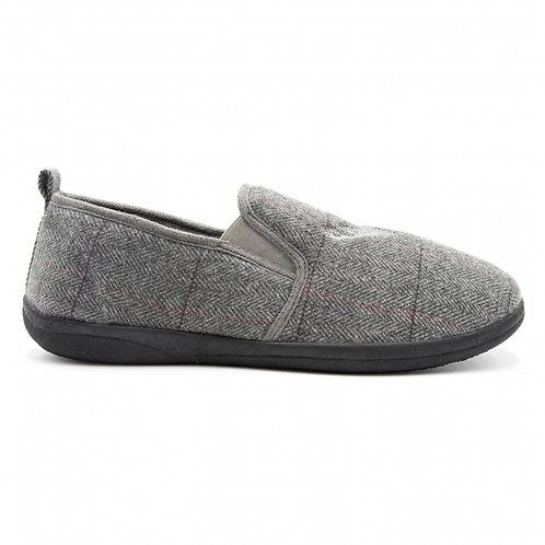 Padders Mens slippers tweed style grey