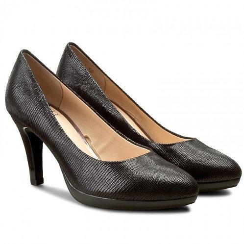 Caprice Black reptile Leather High Heel