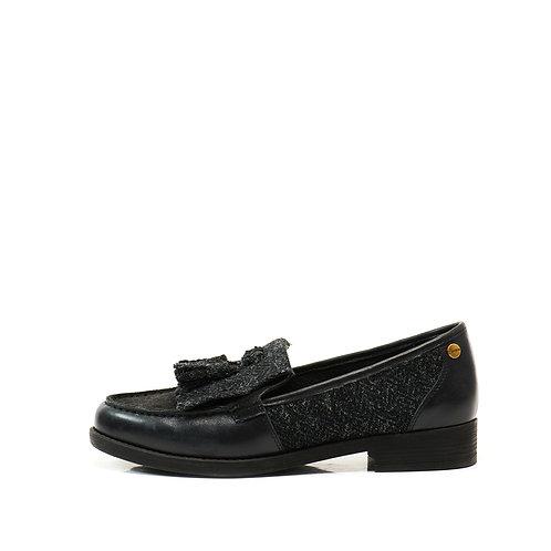 Snowpaw Black Harris tweed boat shoe