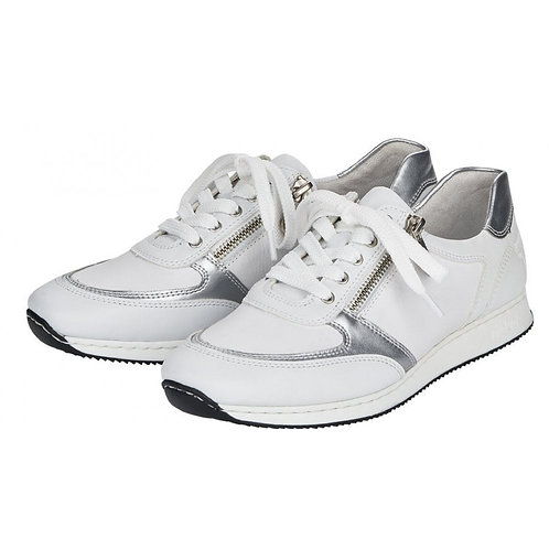 Rieker Ladies White Silver Insert Leather Trainers