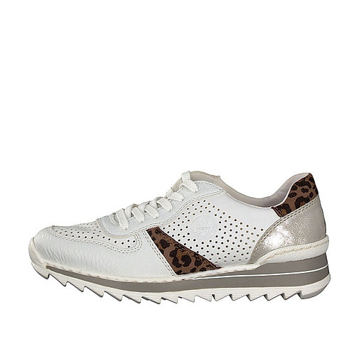 Rieker white and leopard print trainer
