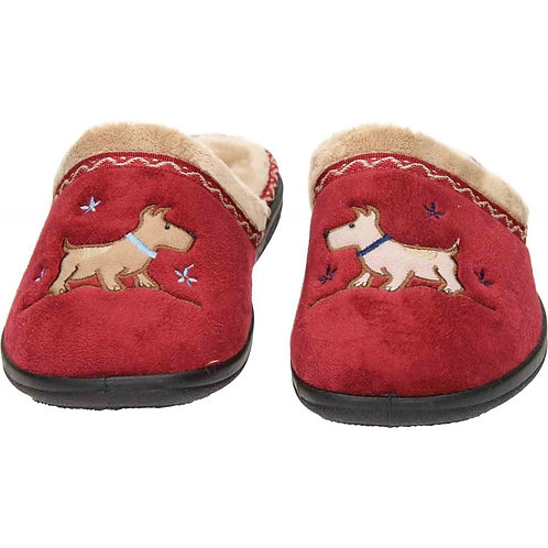 Padders Scotty Dog Backless Slippers Red