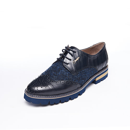 Snowpaw Navy Harris Tweed brogue