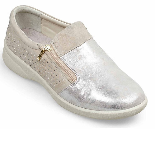 Padders Silver Repearl Double Zip Extra Wide Shoe