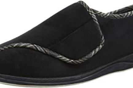 Padders memory foam slipper black suede
