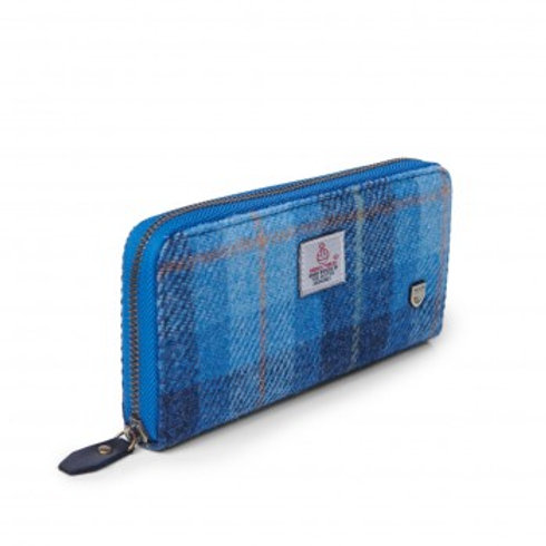 Harris Tweed Tartan blue long purse