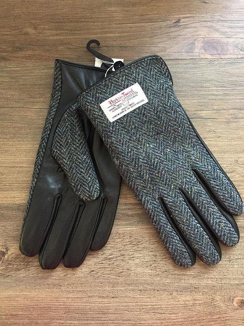 Men's Harris Tweed Leather Gloves Charcoal