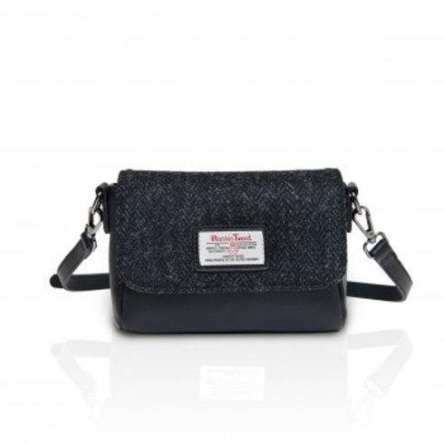 Harris Tweed Black herringbone mini purse bag