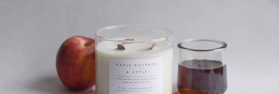 Maple Bourbon & Apple 3 Wick Soy Candle