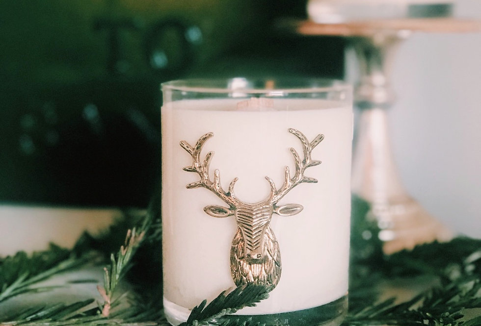 Reindeer Emblem Winter Fir soy candle