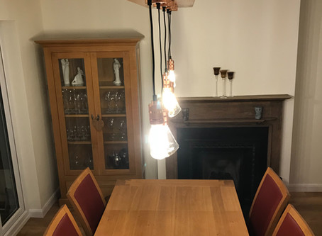 A bespoke dining table pendant