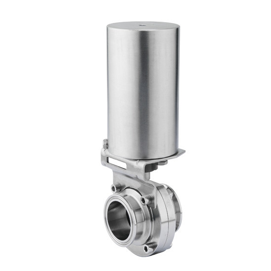 Hygienic actuated butterfly valve