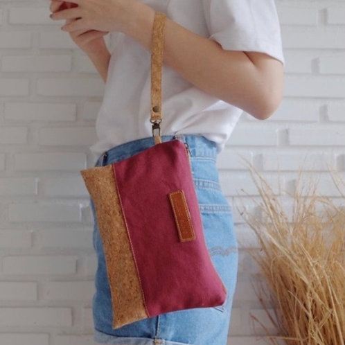 Cork and Fabric Clutch