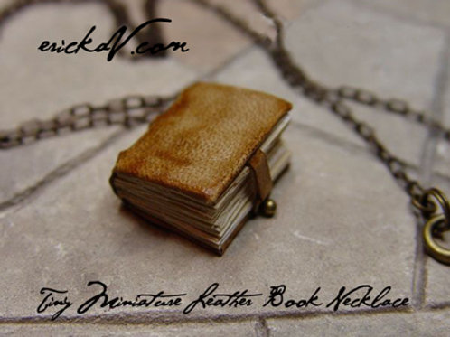 Tiny Leather Book Necklace
