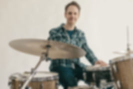 Mark Midwinter playing drums