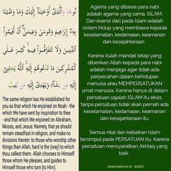 Agama yang dibawa para nabi adalah agama
