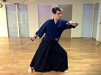 Mosi Dorbayani, Practicing Kenjutsu.jpg