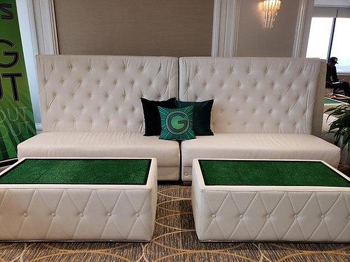 White High Back Sofa Rental