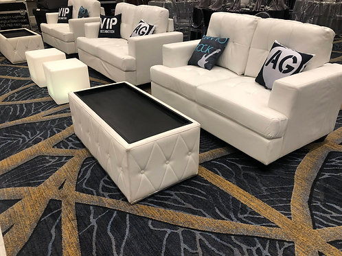 White Leather Coffee Table Rental
