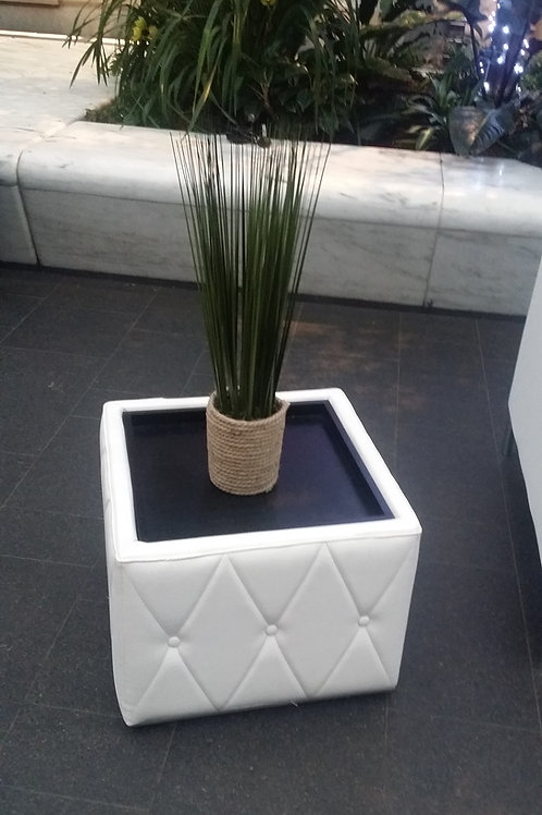 White Leather End Table Rental