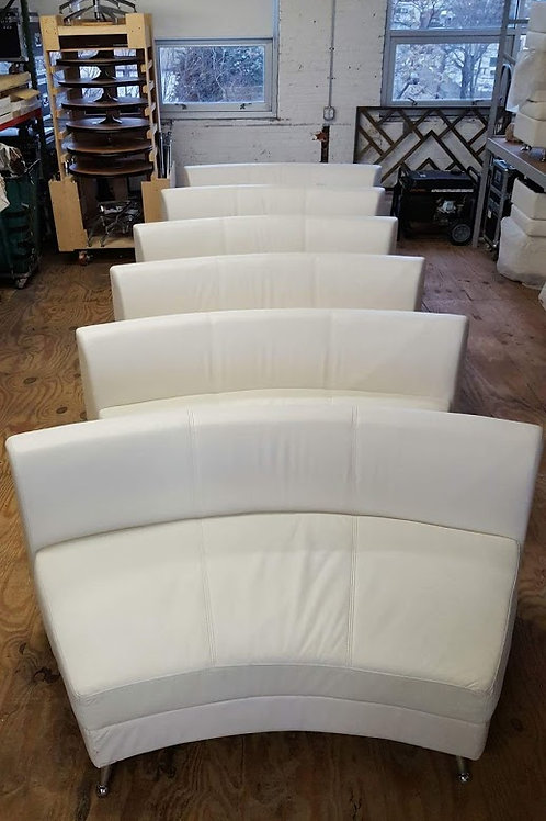 White Leather Curved Sofa Rental