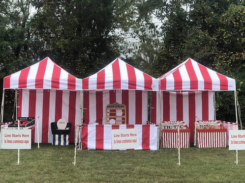 carnival tent to rent, carnival booth rent, stripped booth, stripped tent, red and white tent rental